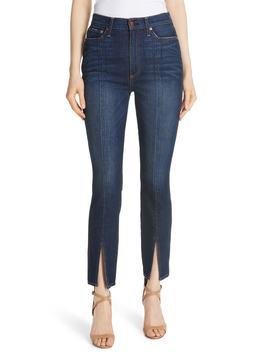 Ao.La Good High Waist Front Slit Skinny Jeans by Alice + Olivia