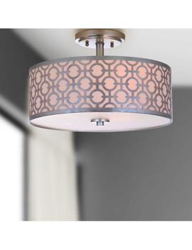 Silver Carved Metal Flush Mount Viviana Ceiling Light by World Market
