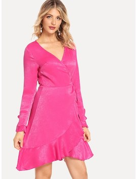 Ruffle Hem Wrap Bell Sleeve Dress by Shein