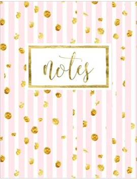 Notes: Notebook & Journal With Pink & White Stripes & Gold (Volume 10) by Papeterie Bleu