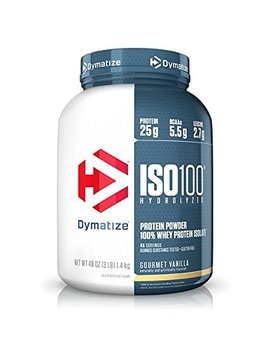 Dymatize Iso 100 Whey Protein Powder Isolate, Gourmet Vanilla, 3 Lbs by Dymatize