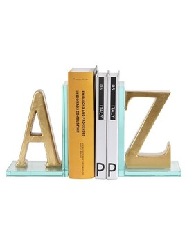 Danya B™ A To Z Glass Bookends Gold by Danya B.
