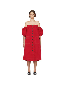 Red Balloon Sleeve Off The Shoulder Dress by Edit