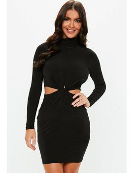 Black Cut Out Knot Waist High Neck Mini Dress by Missguided
