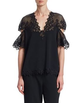 Diamond Lace Appliqué Flutter Sleeve Top by Jonathan Simkhai