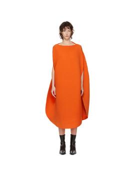 Orange Pleated Sunlight Spherical Dress by Issey Miyake