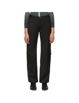 Black Wool Cargo Trousers by Wales Bonner