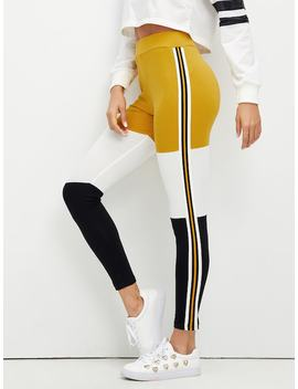 Wide Waistband Color Block Leggings by Shein