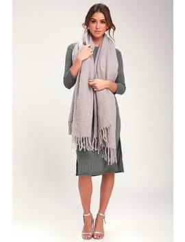 Cuddle Cloud Grey Knit Scarf by Lulus