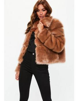 Camel Premium Cropped Faux Fur Jacket by Missguided