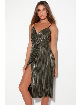 Radiant Night Black And Silver Pleated Midi Dress by Lush