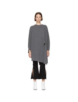 Grey Wool & Alpaca Crewneck Cape Sweater by Stella Mccartney