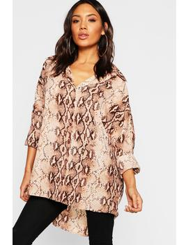 Snake Print Oversized Shirt by Boohoo