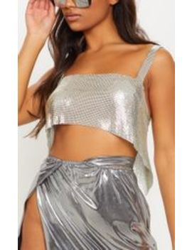 Silver Chainmail Crop Top by Prettylittlething