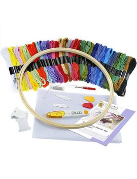 Caydo Full Range Of Embroidery Starter Kit Cross Stitch Tool Kit Including 10 Inch Bamboo Embroidery Hoop, 36 Color Threads, 12 By 18 Inch 14 Count Classic Reserve Aida And Tool Kit For Beginners by Caydo