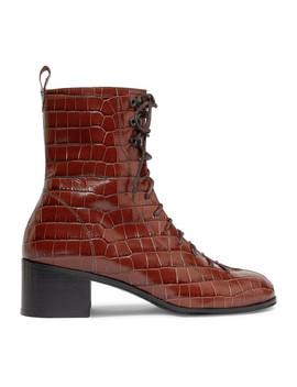 Bota 仿鳄鱼纹皮革踝靴 by By Far