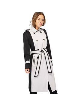 Principles Petite   Black Colour Block Rain Resistant Petite Trench Coat by Principles Petite