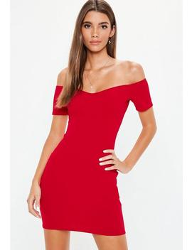 Red Crepe Bardot Bodycon Dress by Missguided