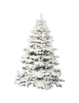 Vickerman 7.5' Flocked Alaskan Pine Artificial Christmas Tree With 900 Multi Colored Led Lights by Vickerman