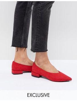 Красные туфли на плоской подошве Lost Ink by Asos
