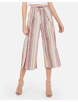 High Waisted Wide Leg Cropped Linen Culottes by Express