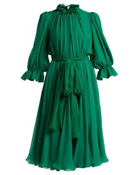 Ruffle Trimmed Chiffon Midi Dress by Dolce & Gabbana