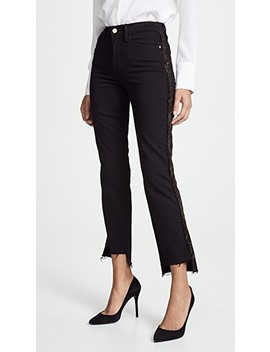 Le High Straight Velvet Tux Raw Jeans by Frame