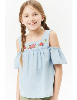 Girls Embroidered Open Shoulder Chambray Top (Kids) by Forever 21