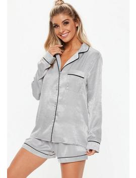Gray Satin Shorts And Shirt Pajamas Set by Missguided
