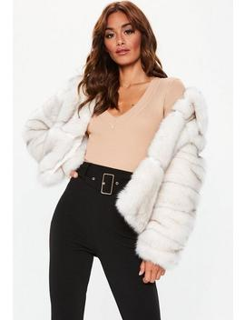 White Premium Cropped Faux Fur Jacket by Missguided