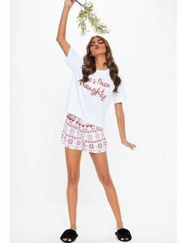 White She's Been Naughty Pajamas Set by Missguided