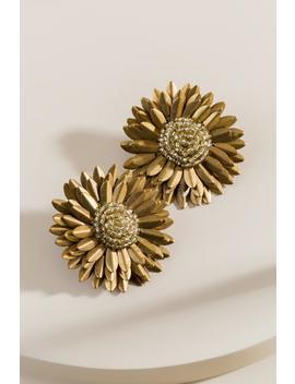 Briana Beaded Flower Statement Earrings by Francesca's
