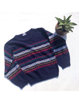 Vintage Kids Girls Knit Hot Fudge Sweater, Vintage Fair Isle Stripes Knit Sweater, Size 10 Y by Etsy