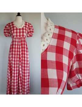Gingham Picnic Dress. 1960s/60s Red And White Checkered Maxi Dress. Womens Small Empire Waist. by Etsy