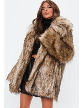 Brown Faux Fur Collared Coat by Missguided