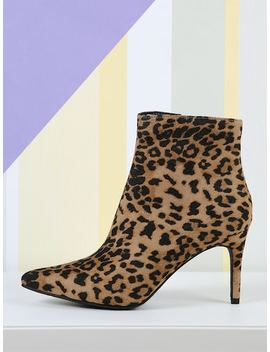 Pointy Toe Side Zip Leopard Booties by Sheinside