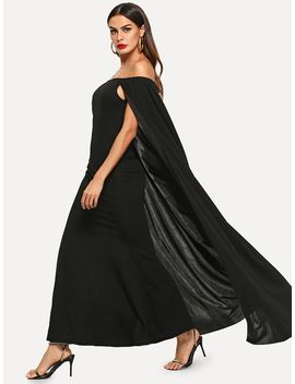 Off Shoulder Solid Cape Dress by Shein