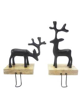 St. Nicholas Square® Reindeer Christmas Stocking Holder 2 Piece Set by St. Nicholas Square
