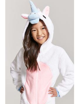 Girls Hooded Unicorn Jumpsuit by Forever 21