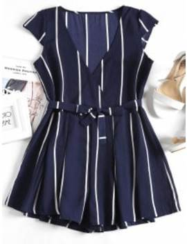 Plunging Neck Striped Belted Romper   Purplish Blue S by Zaful