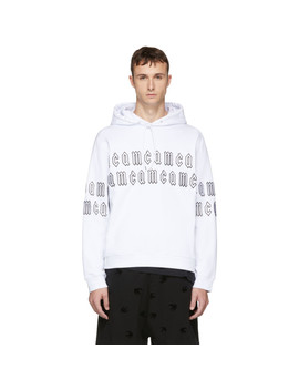 White Gothic Repeat Logo Clean Hoodie by Mcq Alexander Mcqueen