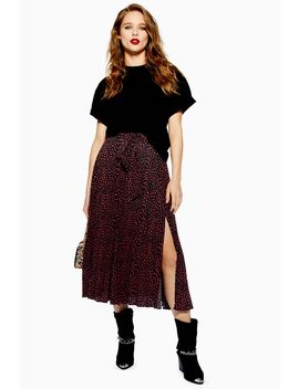 Petite Animal Spot Pleat Midi Skirt by Topshop