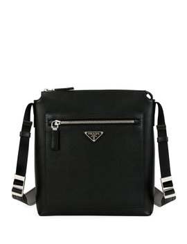 Men's Saffiano Leather Travel Crossbody Bag by Prada