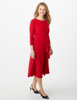 Knit Tie Fit And Flare Dress by Dressbarn