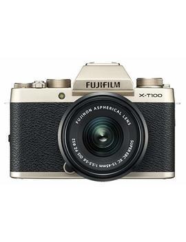 Fujifilm X T100 Mirrorless Digital Camera W/Xc15 45mm F3.5 5.6 Ois Pz Lens   Champagne Gold by Fujifilm