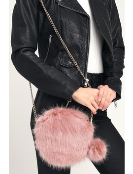 Luxury Life Mauve Pink Faux Fur Circle Purse by Lulus