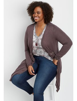 Plus Size Open Front Tab Cardigan by Maurices