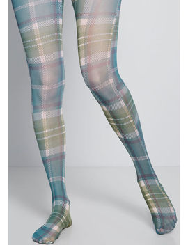 Get A Leg Up Plaid Tights by Modcloth