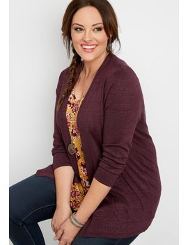 Plus Size Pointelle Back Lurex Cardigan by Maurices