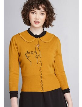 Playful Nature Embroidered Cat Cardigan by Modcloth